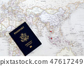 US passport and world map 47617249