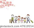 三代家庭春天旅行櫻桃樹 47619554