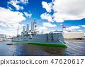 cruiser Aurora on the Neva River 47620617
