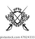 crossed epee swords and shield vector 47624333