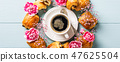 Mini fresh croissants bun 47625504