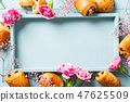 Mini fresh croissants bun 47625509