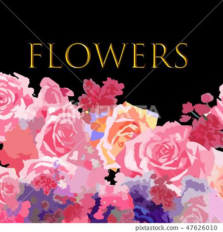 抽象的玫瑰花和牡丹花花卉 47626010