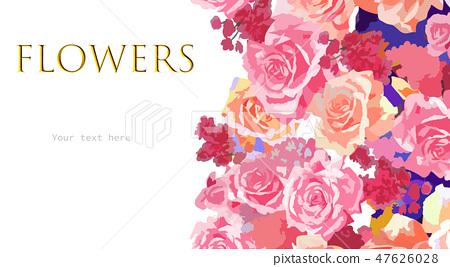 抽象的玫瑰花和牡丹花花卉 47626028