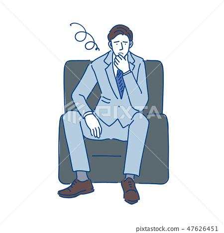 商人坐沙發手畫例證 47626451