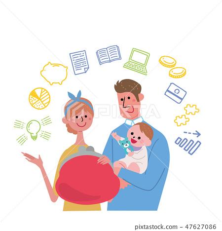 育兒教育基金圖像圖手繪圖標 47627086