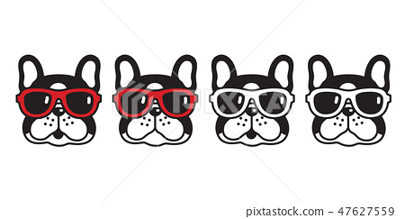 dog vector french bulldog sunglasses icon cartoon  47627559