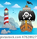 Image with pirate vessel theme 2 47628627