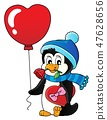 Cute Valentine penguin theme image 3 47628656