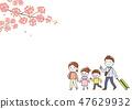 家庭春天旅行樱花 47629932