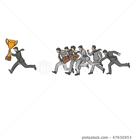 running businessman with gold trophy  47630953