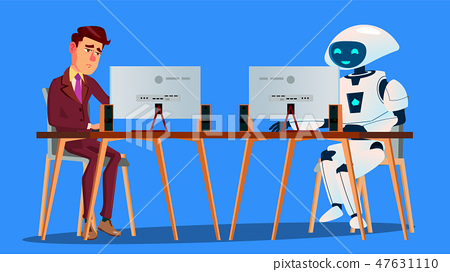 Working Robot Vs Tired Businessman Working On Computer Vector. Isolated Illustration 47631110