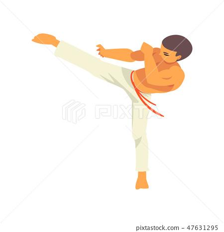 Capoeira Dancer Character Doing Powerful Kick, Brazilian National Martial Art Vector Illustration 47631295