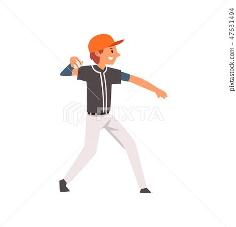 Baseball Player Throwing Ball, Softball Athlete Character in Uniform Vector Illustration 47631494