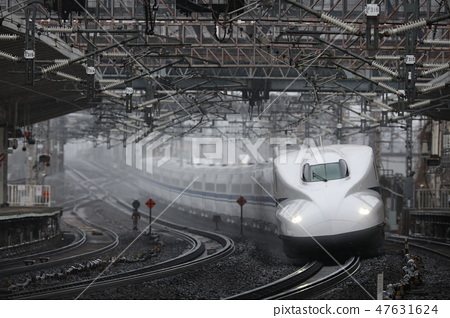 新幹線新幹線子彈列車線Yonehara噴水器雪冬天N700鐵路雪景 47631624