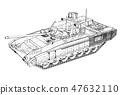 Blueprint of realistic tank 47632110