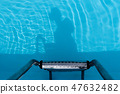 Shadow of human body in a swimming pool 47632482