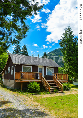 Detached house with big patio on country side in British Columbia, Canada 47634428