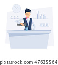 Bartender with bar counter.  47635564