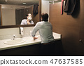Business Man Shaving In Office Bathroom After Early Morning Commute 47637585