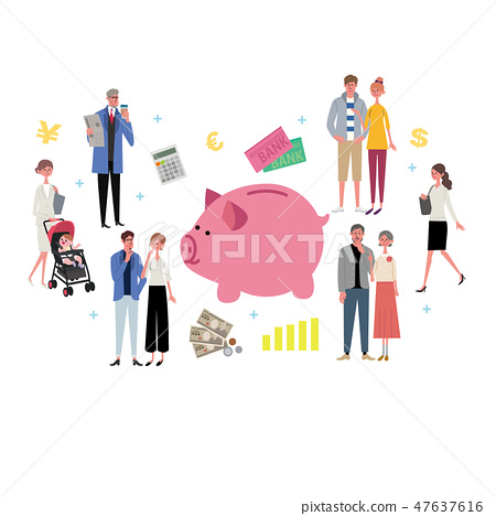 Illustration of Piggy Bank and People Financial Image Asset Management 47637616