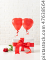 Valentines Day composition with red ballons  47638564