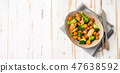 Healthy salad with chicken breast and broccoli 47638592