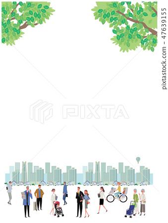 Shimpuri鎮和人Townscape例證設計 47639155