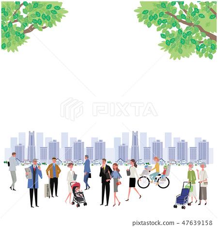Shimpuri鎮和人Townscape例證設計 47639158