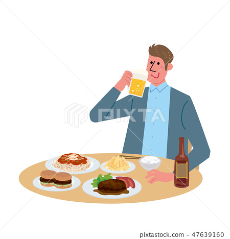 Male illustration to eat drinking and eating 47639160