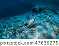 Woman free diver swim underwater in the ocean 47639275