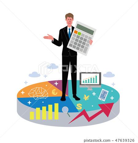 Business man graph calculator illustration 47639326