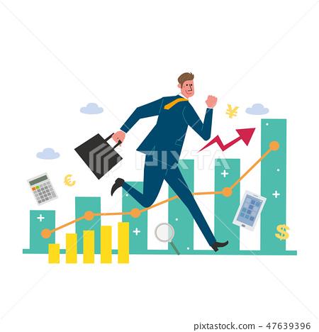 Business concept Businessman graph Illustration 47639396