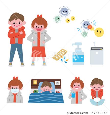 감기 인플루엔자 대책 일러스트 세트 47640832