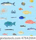 鱼无缝淡蓝色 47642664