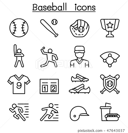 Baseball and softball icon set in thin line style 47643037