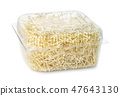 Dry egg noodles in clear plastic container 47643130