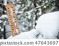 thermometer with subzero temperature stuck in the snow  47643697