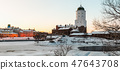 panorama of Vyborg castle and Castle island   47643708