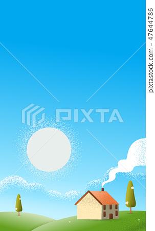 Cabin hut on the hills Vector texture illustration 47644786