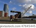 Old harbor cranes in Frankfurt 47645445