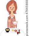 ผู้หญิงที่จะทานอาหารเช้า 47645660