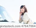 年轻的女士开车 47647064
