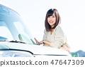 年轻的女士开车 47647309