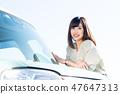 年輕的女士開車 47647313