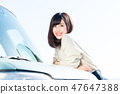 年轻的女士开车 47647388