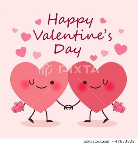 two cute cartoon heart couple 47653838