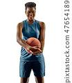 Basketball players woman teenager girl isolated shadows 47654189