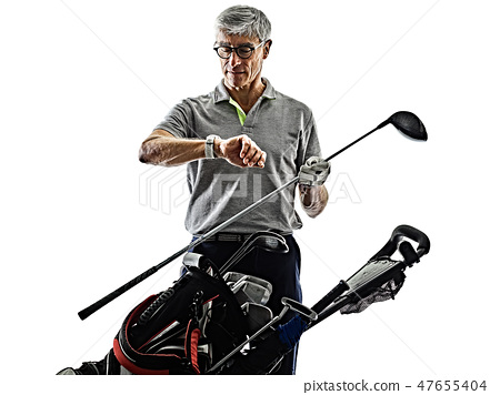 senior man golfer golfing  shadow silhouette isolated white background 47655404