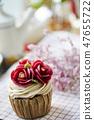 꽃 케이크 꽃 컵케익 복사 공간 47655722